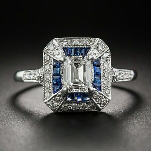 Certified 2.65Ct Emerald-Cut Art Deco Style Sapphire Engagement Ring In14K Gold.