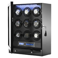 Arcanent 9 + 2 Slot Watch Winder LCD Digital Black Quality Made w/ Ball Bearings