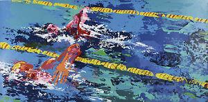 """""""Swimmer"""" By Leroy Neiman Signed Artist's Proof AP Silkscreen 1972 w/ COA"""