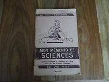 ANCIEN LIVRE SCOLAIRE MDI ANSCOMBRE MON MEMENTO DE SCIENCES  1966 AFFICHE