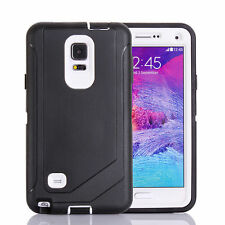 For Samsung Galaxy Note 4 Defender Outer Case Protective Cover w/Clip Blck White