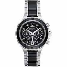 Bulova Black Dial Stainless Steel Ceramic Chronograph Quartz Ladies Watch 98P126