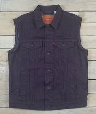 New LEVIS Denim Button Down Trucker Vest Deep Purple Eggplant Size M 728870004
