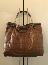 LANVIN Amalia Bag Brown Quilted Leather Large Shoulder Chain Women Tote
