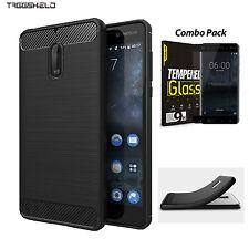 Nokia 3 5 6 8 Case Cover, Slim-Fit Carbon Fiber HEAVY DUTY Bumper Case