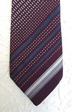 Maroon Tootal English vintage 1960s mens tie Grey and white diagonal stripes