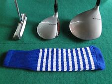New knitted zebra style Fairway & Driver club head cover Royal / Optic White