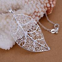 Fashion women 925 sterling Silver Plated Charm Leaf Beautiful Necklace jewelry