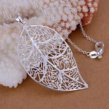 Fashion women Silver Charm Leaf Cute Beautiful pretty Necklace jewelry