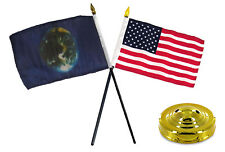 "Earth & USA America American Flag 4""x6"" Desk Set Table Stick Gold Base"