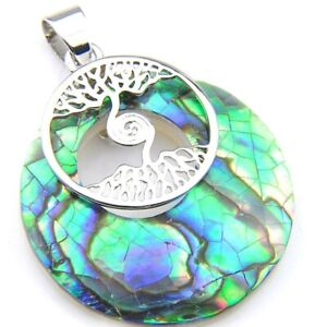 Tree Of Life Natural Handmade Abalone Shell Gemstone Silver Necklace Pendants