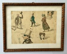 Dessin humoristique ancien, Aquarelle, Personnages, Caricatures, XIXe, Encadré