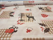 STAGS/ DEER RED HEARTS  BEIGE EASYCARE  PVC TABLE CLOTH £3.45 METRE FREE POST