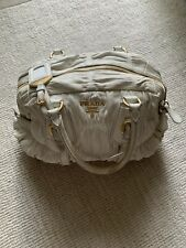 Prada White Gold Tessuto Gaufre Leather Nylon Crossbody Bag