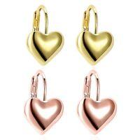 New 9K Yellow Gold Filled Heart Shape 6/7mm Cubic Zirconia CZ Stud Post Earrings
