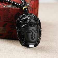 Hot Sale Natural Obsidian Guanyin Buddha Good Luck Zen Buddha Head Pendant
