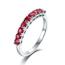 Real 14K White Gold Ruby Wedding Propose Eternal Match Band Women Ring