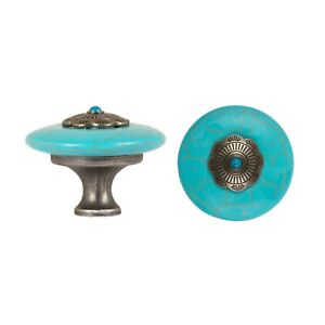BLUE STONE 50mm CABINET DRAWER PULL CUPBOARD KNOB - ANTIQUE BRASS BASE