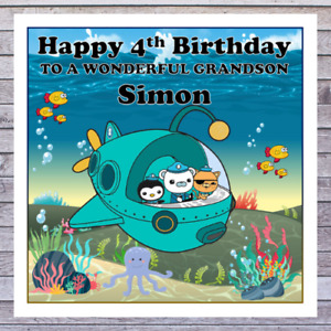 KIDS OCTONAUTS BIRTHDAY CARDS - personalised with any AGE RELATIONSHIP & NAME