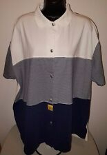 Onque Too Woman's Plus White/Blue Striped Button Down Shirt Size 24