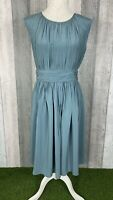 Boden Blue 'Selina' Ruched Pleated A-Line Dress Size UK 10 Occasion