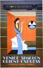 Metal Sign Venice To Simplon Lady In Blue Fix Masseau Orient Expess A4 12X8 Alum