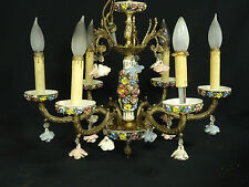 MAGNIFICENT ANTIQUE ITALIAN PORCELAIN GILT BRONZE 6 ARM CHANDELIER