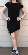 Sara Pacini Italy Midi Black Knit Short Sleeve Asymmetric Bottom Dress One Size
