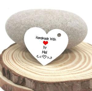 Custom 'Handmade With Love' Heart Shaped Tags - Crochet/Knitting/Craft