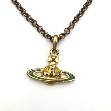 Vivienne Westwood Orb Yellow Green Pendant Necklace Gold