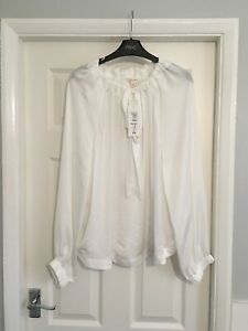 Ladies NWT M&S Per Una Winter White Long Sleeved Blouse Rrp £25