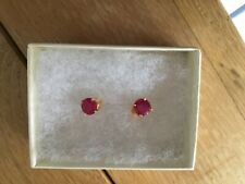 14K Solid Yellow Gold Ruby  Round Stud Earrings 3.00 Carats