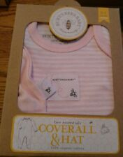 Burt's Bees Baby Pink & White Striped Coverall & Hat Set Size 0-3 months FREE SH