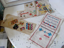 Vintage samplers x 3 embroidery stitches possibly early 20th century