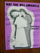 Vintage Sheet Music 1934-Fare Thee Well Annabelle-Rudy Vallee-Sweet Music-song