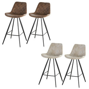 Set of 2 Bar Chairs Cozy Seat Metal Leg Foot Protector Sturdy