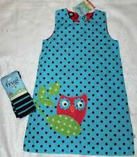 NWT Boutique Frugi Organic Owl Reversible Pinafore Aqua Dot Raspberry Dress 7 8