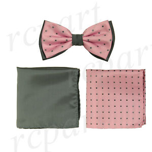 New Brand Q Men's Pre-tied Bow tie & 2 hankie pink gray polka dots formal prom