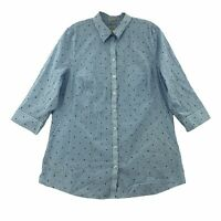 Chico's Womens 1.5 Collared Button Up No-Iron Long Sleeve Blue Shirt