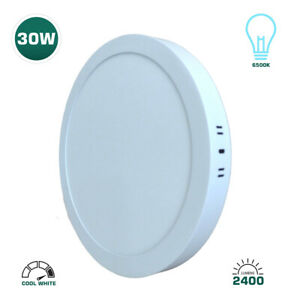 ROTHER 30W ROUND SURFACE MOUNT LED CEILING PANEL LIGHT - COOL WHITE - 6500K