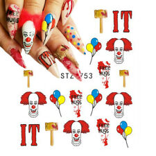 Nail Art Water Decals Stickers Transfers Halloween Pennywise IT Clown STZ753
