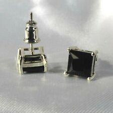 544248e5b Men's Square 18K White Gold Filled Sim Black Sapphire 7mm Stud Earrings  gift UK