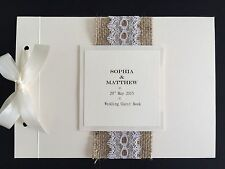 Personalised Handmade Vintage Rustic Lace Hessian Wedding Guest Signing Book