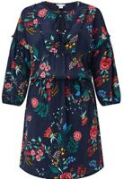 Monsoon Emma Print Dress Navy Blue Floral Uk 20 Bnwt Tassels Crochet Bobble