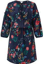 Monsoon Emma Print Dress Navy Blue Floral Uk 22 Bnwt Tassels Crochet Bobble
