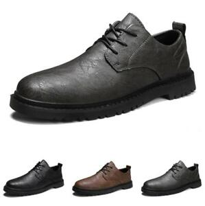 Retro Mens Business Leisure Shoes Work Office Lace up Round Toe Oxfords Casual L