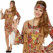 Adulto anni'60'70 TRENDY LADY Hippy Flower Power Donna Costume