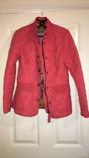 Ladies Joules Moredale Barbour Style Jacket Coat Size 8 Red / Coral Floral Print