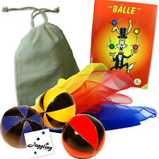 Jonglage Set / Bälle in Rot-Gelb-Blau / Tücher, Beutel, Jonglier-Fibel, Sticker