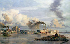 "John Stobart Print - Baton Rouge: The Steam Packet ""City of Baton Rouge"" in 1881"